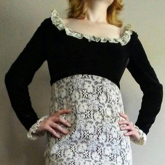 Regency Inspired 60's Lanz Original Velvet Dress
